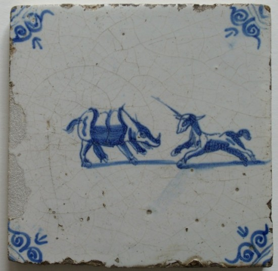 17th c. Delf tile