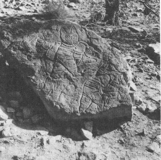 a rhinoceros engraved on the rock at Uadi Tilizzaghen-1 (Acacus, Fezzan, Libya)