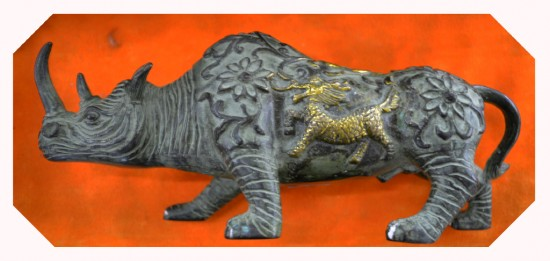 A Lao bronze rhinoceros