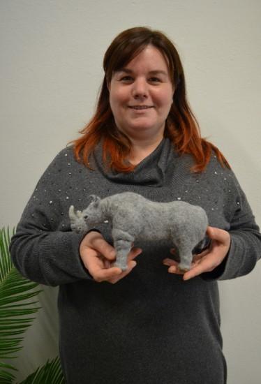 """Giulia Fontanesi (""""Giulia Lady-bug"""") with her needle-felt rhinoceros"""