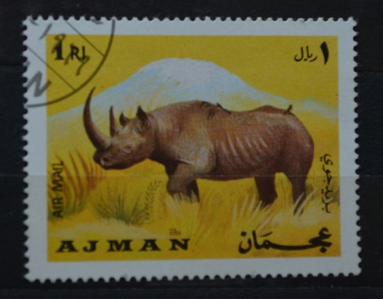 A black rhinoceros on a postage stamp from Ajman