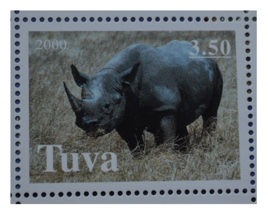 A black rhinoceros on a postage stamp from Tuva