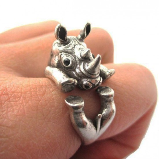 An original silver rhino ring