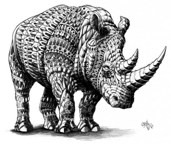 A decorated white rhinoceros