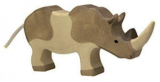 A hand-made woody rhinoceros
