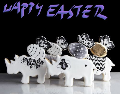 "Rhinos wishing ""Happy Easter"""